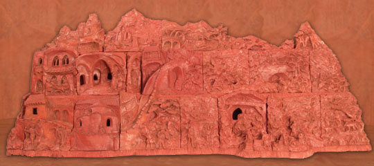 Traditional bethlehem (nativity scenes) from baked clay - 115 x 45 x 20 cm